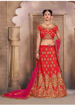Classic Red color Silk Wedding Lehenga