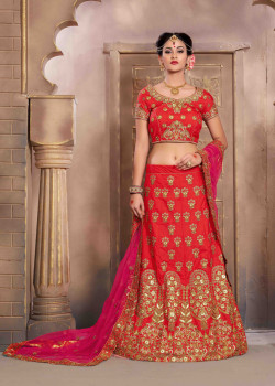 Classic Red color Silk Wedding Lehenga