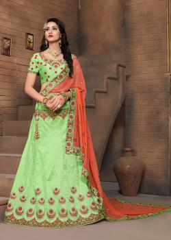 Dazzling Green color Silk Designer Lehenga