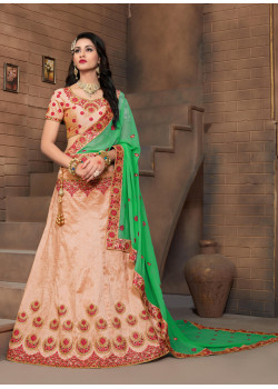 Divine Orange color Silk Designer Lehenga