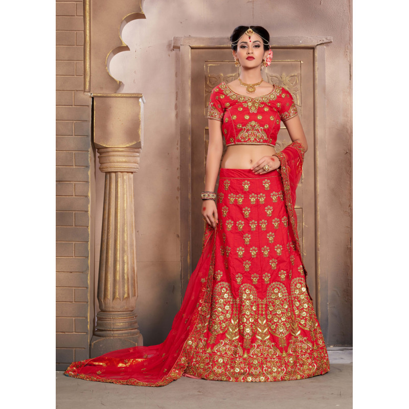 Enigmatic Red color Silk Wedding Lehenga