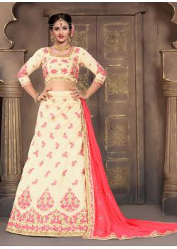 Flamboyant Cream color Silk Designer Lehenga