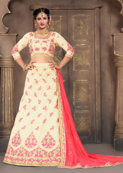 Flamboyant Cream color Silk Designer Lehenga