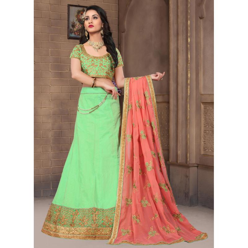 Gorgeous Green color Silk Designer Lehenga