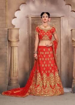Melodic Red color Silk Wedding Lehenga