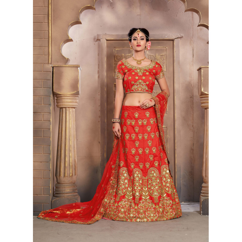 Melodic Red color Silk Wedding Lehenga