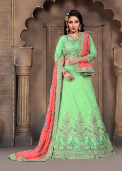 Trendy Green color Silk Designer Lehenga
