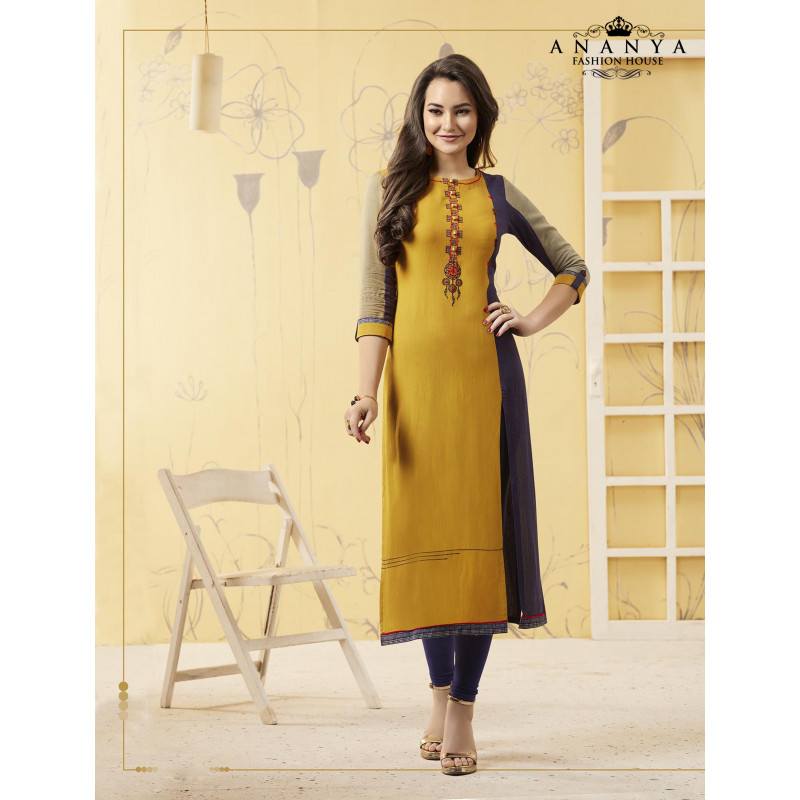 Incredible Yellow Rayon Readymade Kurti