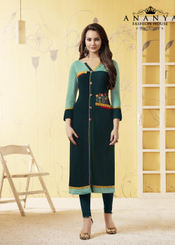 Charming Dark Green Rayon Readymade Kurti