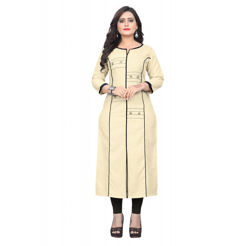 Enigmatic Cream Rubi Cotton Readymade Kurti