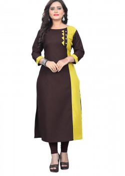 Luscious Brown Rubi Cotton Readymade Kurti