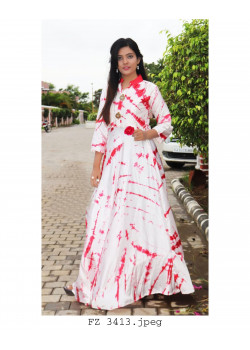 Adorable White Red Heavy Satin Readymade Kurti