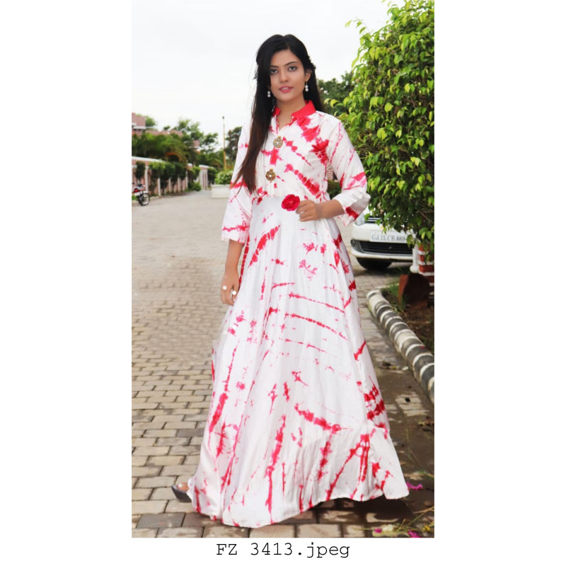 Adorable White Red Heavy Satin Readymade Kurti