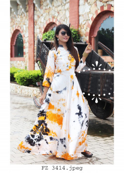 Flamboyant White Yellow Heavy Satin Readymade Kurti