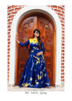 Plushy Blue Heavy Satin Readymade Kurti