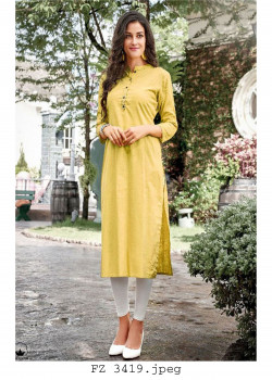 Dazzling Yellow Cotton Readymade Kurti
