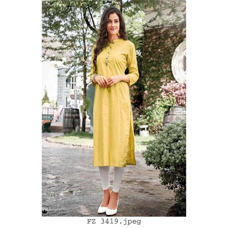 Dazzling Yellow Cotton Readymade Kurti