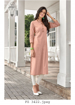Exotic Pastel Pink Cotton Readymade Kurti