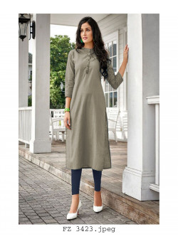 Magnificient Grey Cotton Readymade Kurti