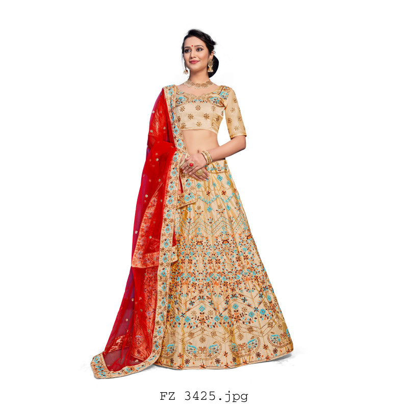 Classic BEIDGE color Nylon Satin Designer Lehenga